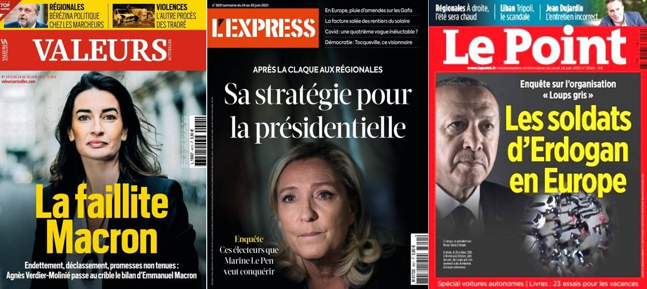 Les Loups gris d'Erdogan à la Une du Point, La faillite Macron est au coeur d'un dossier de Valeurs Actuelles et L'Express s'intéresse à la stratégie de Marine Le Pen pour l'élection présidentielle de 2022.