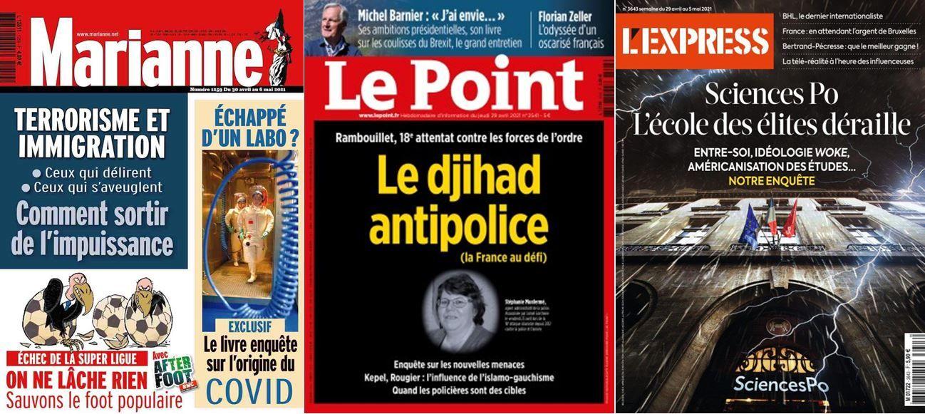 Revue de presse des hebdomadaires du 29 avril avec les unes de Marianne, L'Express et Le Point