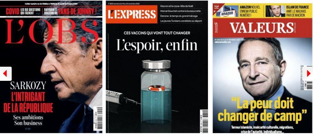 L'Obs voit un retour de Sarkozy et plus d'immigrés que jamais auparavant en France, Pierre de Villiers voit la guerre civile arriver; Castex plonge, Pécresse pourrait le remplacer après 2022; Marianne s'attaque aux délires du film Hold Up sur le Covid