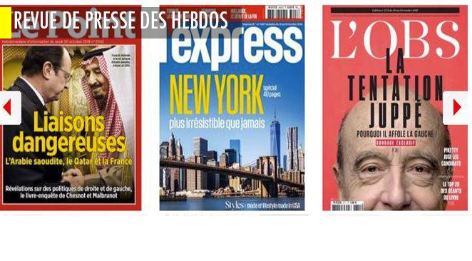 """La Hollandie en furie contre le Président ; l'Obs dans les affres de la """"tentation Juppé"""" à gauche ; Bygmalion, BPI, France-Qatar-Arabie saoudite : révélations à tous les étages dans le Point"""