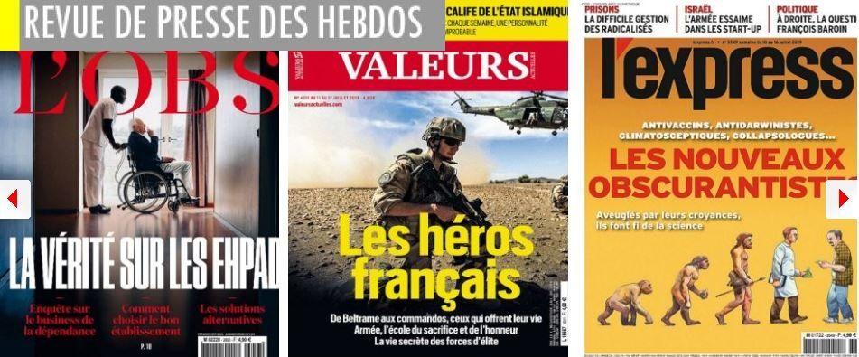L'Express voit le RN à la mairie de Marseille et François Baroin candidat en 2022 ; Valeurs actuelles loue les héros de la République ; L'Obs pourfend les Ehpad