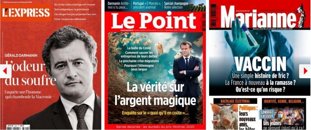 Sarkozy coache Darmanin, Macron tance ses ministres; Hidalgo n'a aucune ambition mais un sens du devoir pour la France; Le Point s'inquiète des milliards de l'argent magique du Covid, Marianne des vaccins