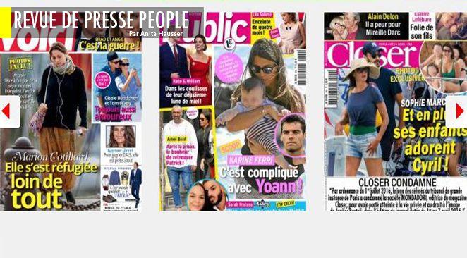 Panique dans le camp Pitt : Angelina Jolie veut emmener les enfants... en Syrie; Marion Cotillard réfugiée à Noirmoutier; Quand Hillary Clinton fracassait le crâne de Bill ; Karine Ferri - Yoann Gourcuff : pourquoi tant de temps séparés ?