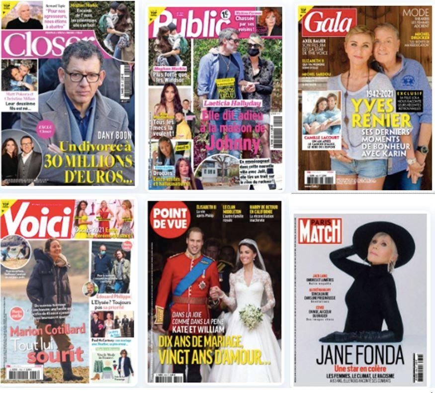 Revue de presse people du 1er mai. Dany Boon en Une de Closer. Laeticia Hallyday et Jalil Lespert sont en couverture de Public. Gala rend hommage à Yves Rénier.