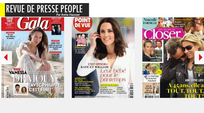 Vanessa Demouy Philippe Lellouche, ça s'en va, Brad Pitt Angelina Jolie, ça revient; Patrick Dupont amoureux fou d'une femme; Brigitte Macron super cop's avec la Grande-duchesse de Luxembourg; Liane Foly, la fin du burn-out; Alexandra Lamy, the body