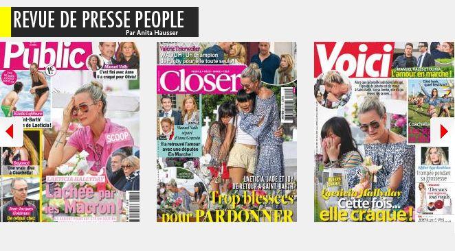 Le changement, c'est (enfin) maintenant : nouvelles amours pour Manuel Valls et Valérie Trierweiler; Laeticia Hallyday abandonnée par les Macron, Letizia d'Espagne assassinée par Gala; Paris Jackson, après Cara, de nouveau dans les bras d'un (vieil) homme