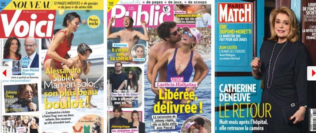 revue de presse people Jean-Michel Blanquer Alessandra Sublet Laeticia Hallyday Johnny Depp