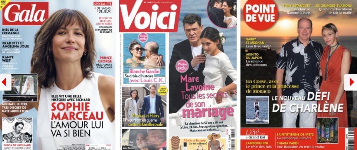 Sophie Marceau Marc Lavoine Cyril Lignac Laeticia Hallyday été 2020 Blanche Gardin