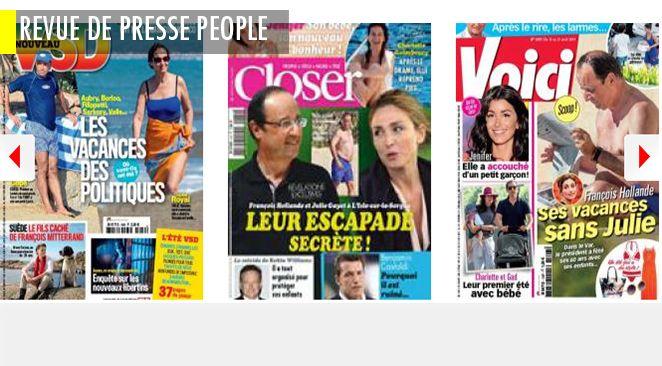 Le mystère de l'amour : les vacances de François Hollande, avec ou sans Julie? Le vrai faux fils secret de Mitterrand; Benjamin Castaldi, la ruine