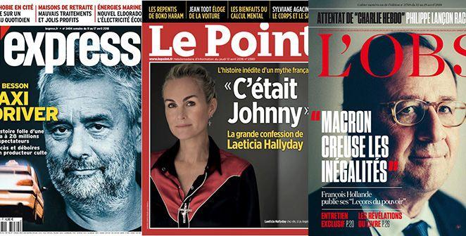 Marianne a peur du grand méchant Macron; Hollande s'épanche dans L'Obs; Mélenchon rêve d'un mai 2018; Laeticia Hallyday pense que Johnny a souffert de l'attitude de David & Laura ; Chirac donne ses costumes aux migrants