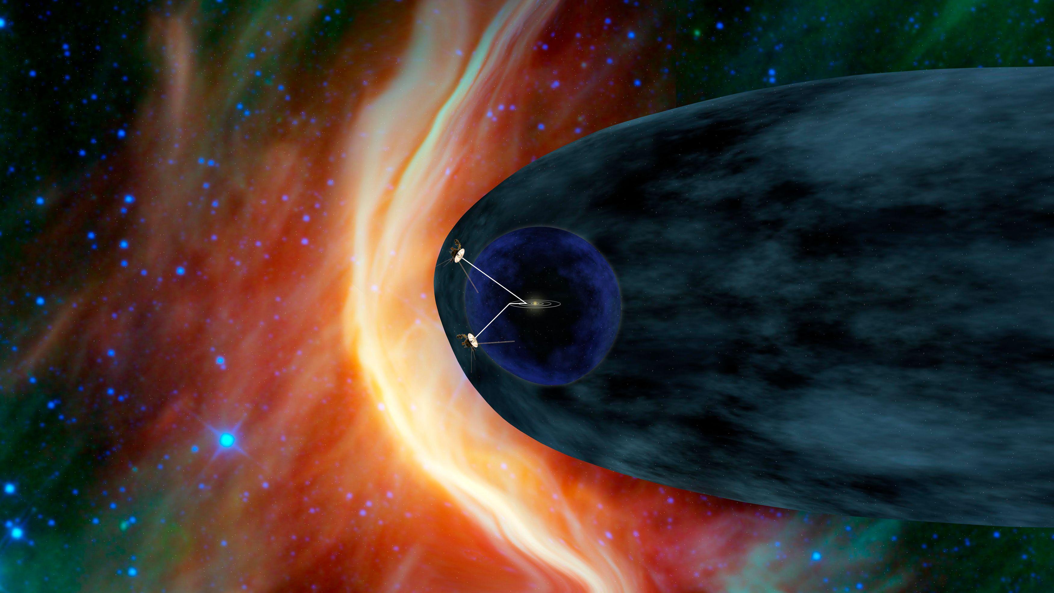 Sur cette représentation, on peut voir Voyager 1 se débattre avec les vents dans héliosphère.