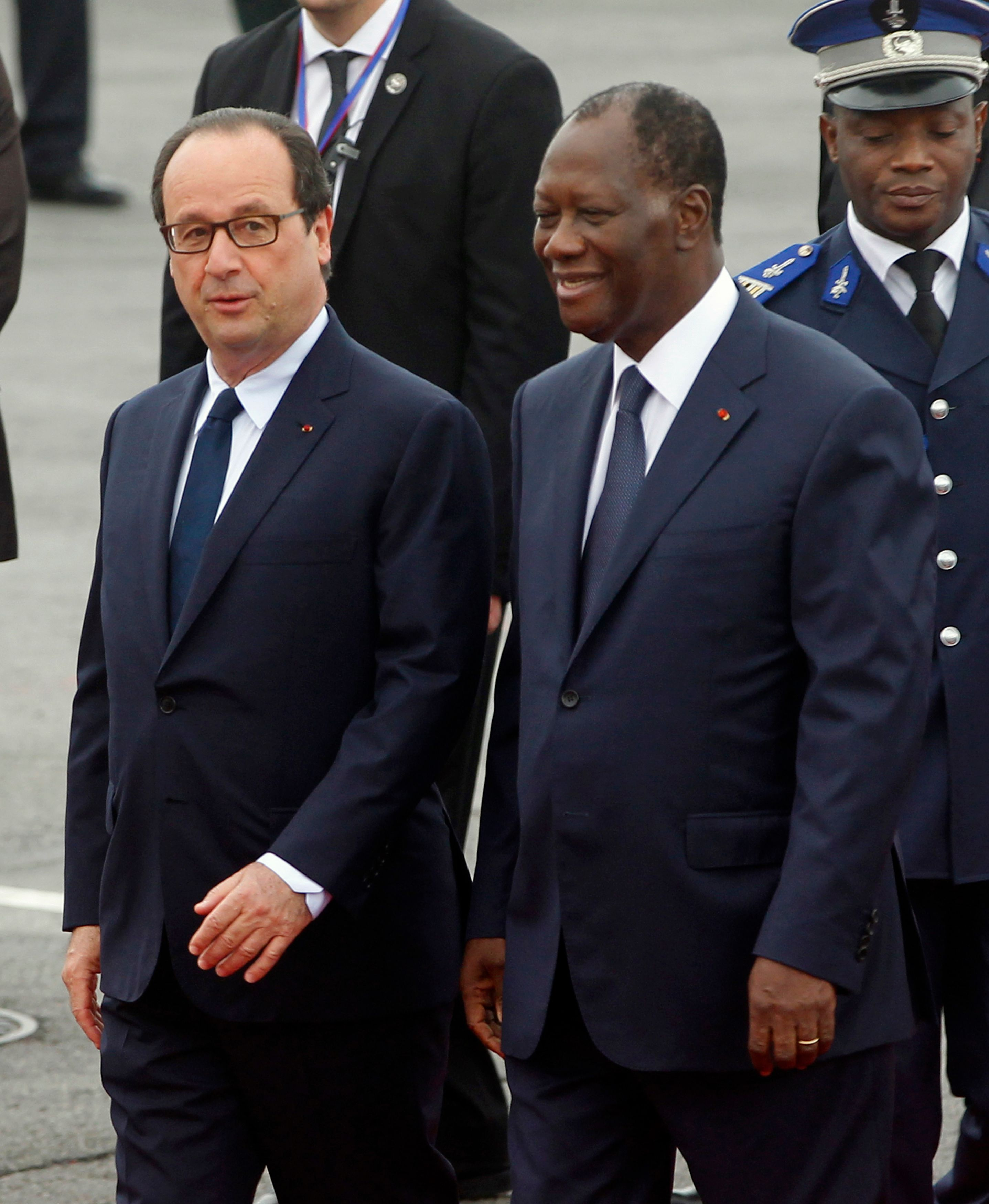 François Hollande et le président de la côte d'Ivoire Alassane Ouattara.