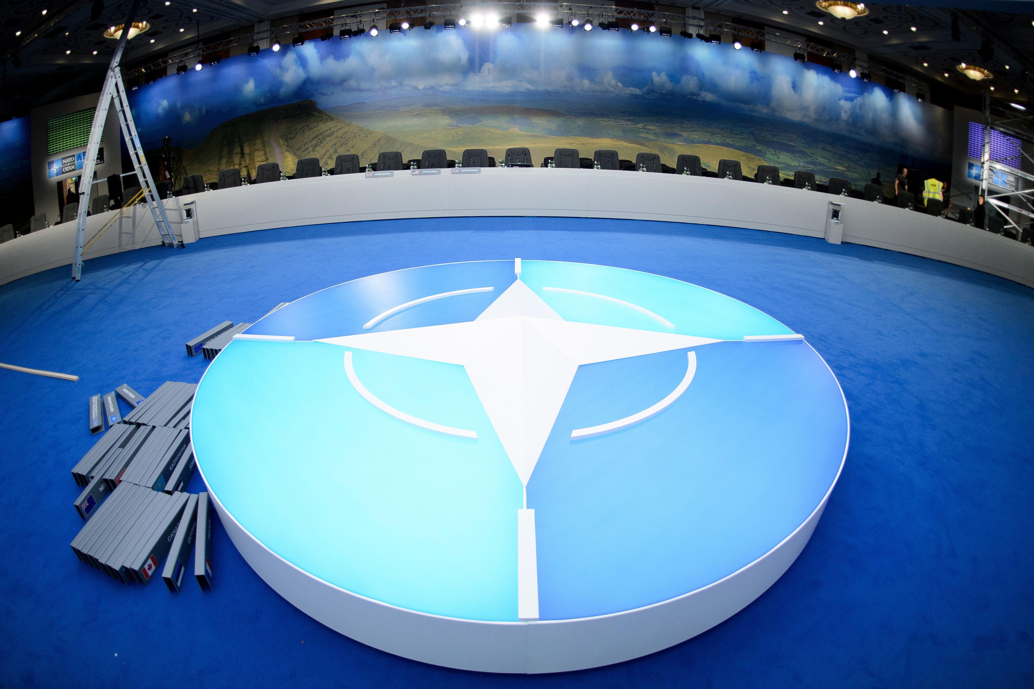 La salle de conférence du prochain sommet de l'OTAN.
