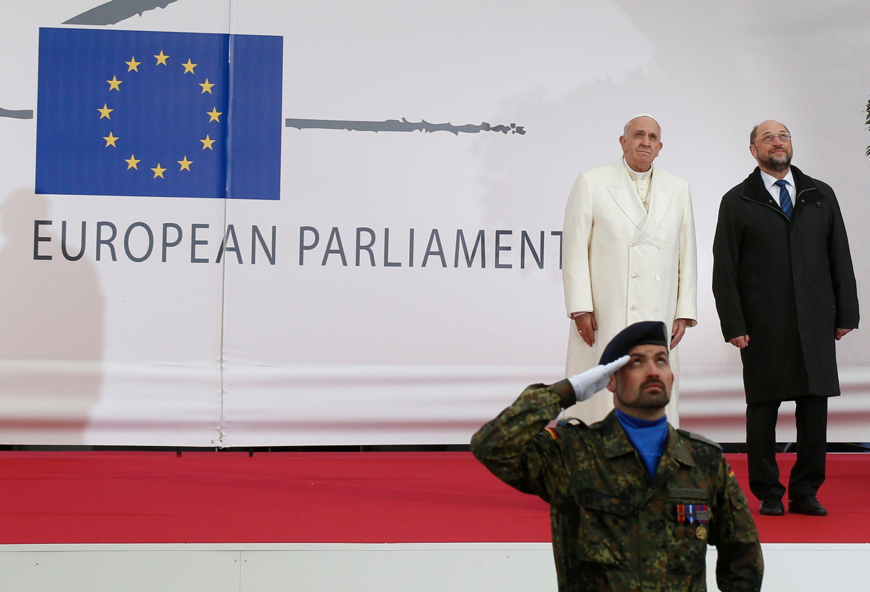 Le pape François ce mardi au Parlement européen à Strasbourg.