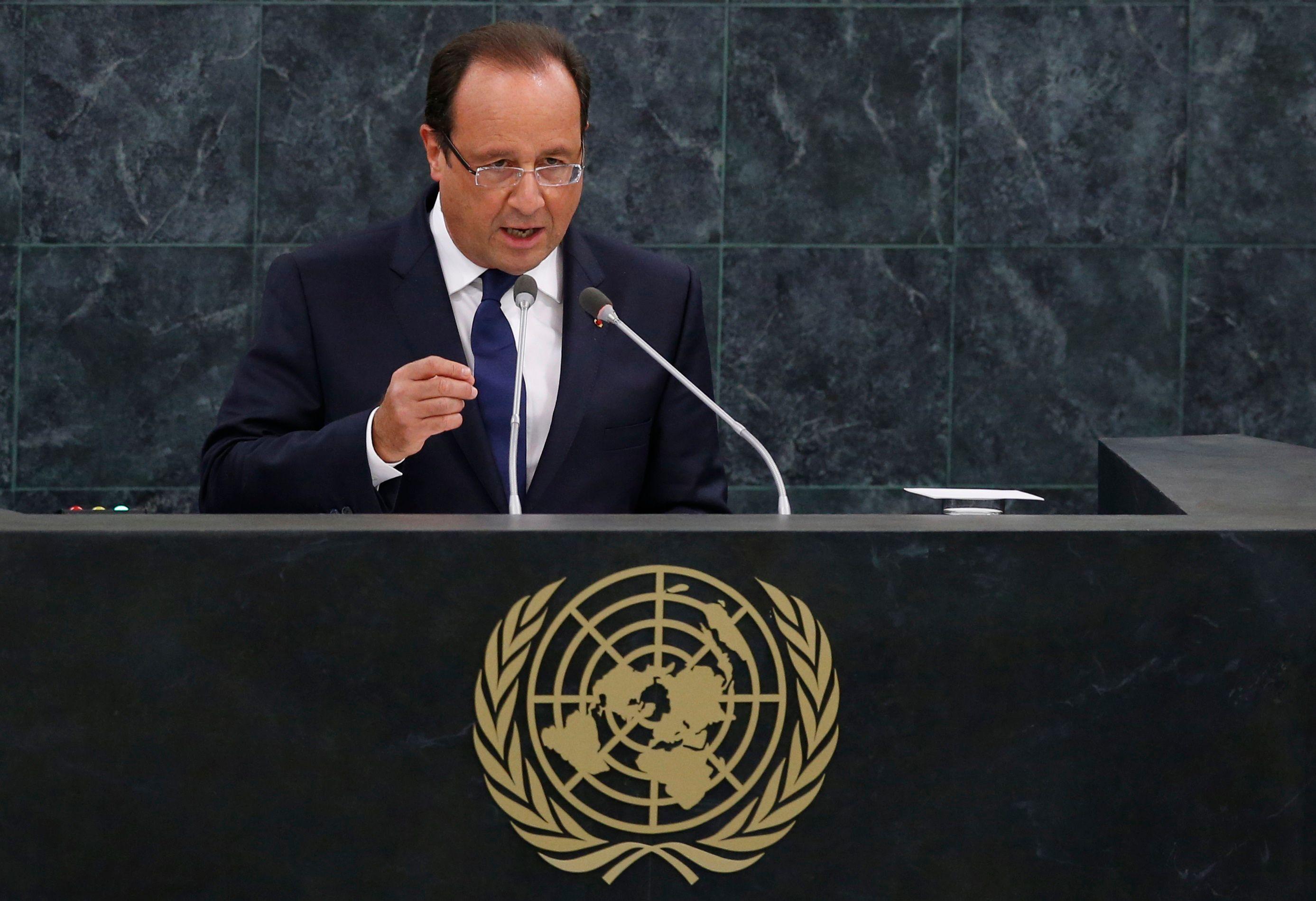 François Hollande mardi à la tribune de l'Assemblée générale des Nations Unies.