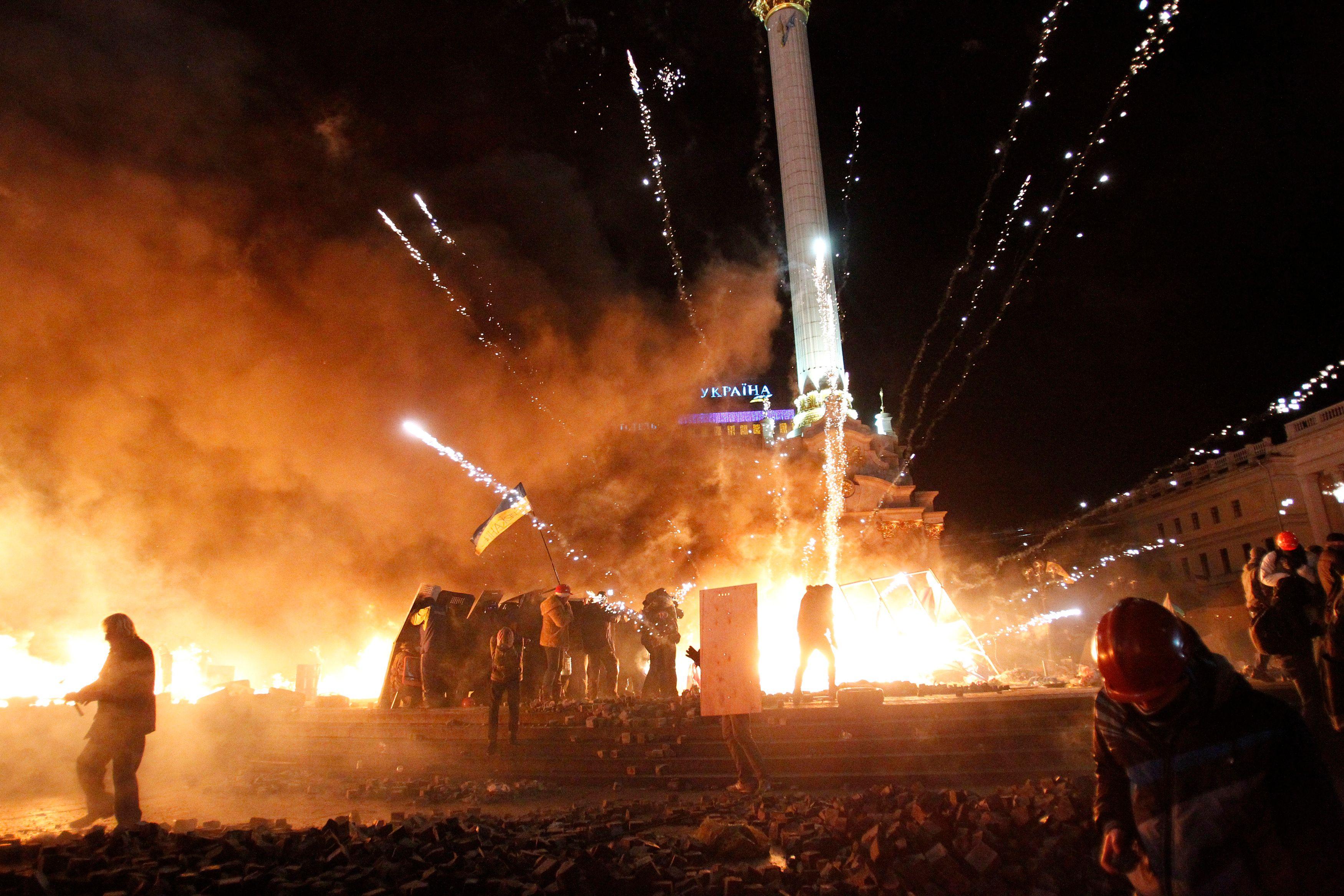 Place de l'Indépendance, à Kiev, mardi 17 février 2014. Photo : Reuters