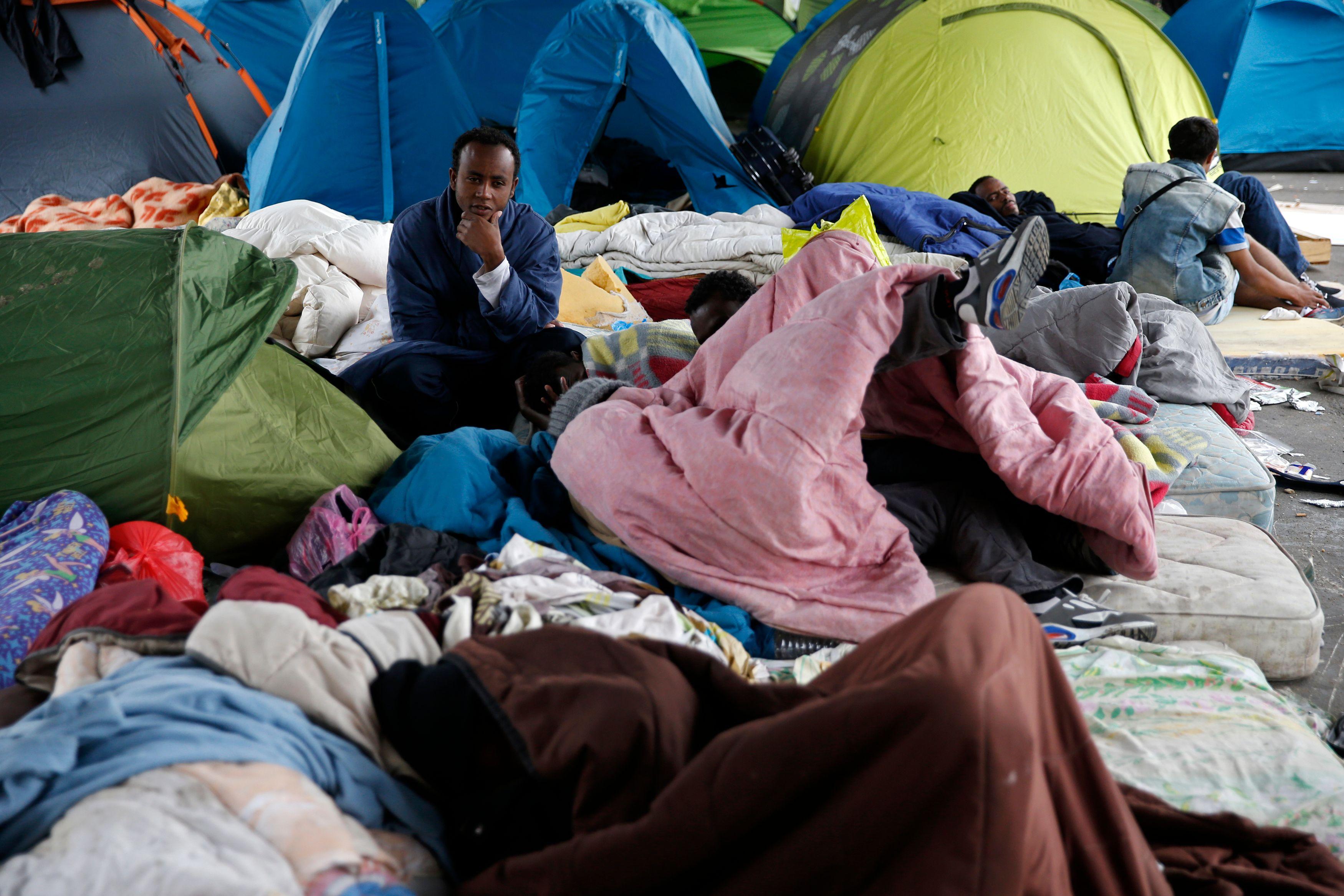 Un camps de migrant à Calais.