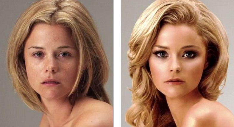 La même personne avant/après retouches.