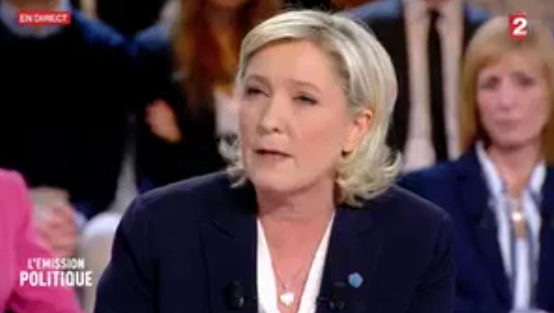 L'Emission politique : Marine Le Pen jugé convaincante par 41% des téléspectateurs