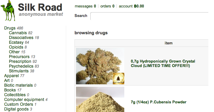 Caputre d'écran du site Silk Road qui permet d'acheter de la drogue en ligne.