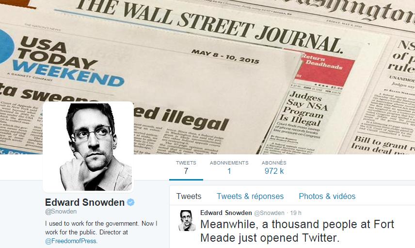 Edward Snowden fait son grand retour sur Twitter et nargue la NSA