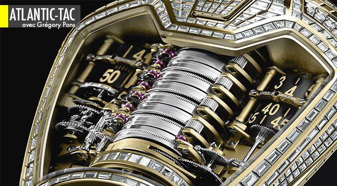 440 diamants taillés en baguette pour mettre en valeur l'architecture mécanico-futuriste d'une pièce unique Hublot dédiée à Ferrari et dotée de cinquante jours de réserve de marche.