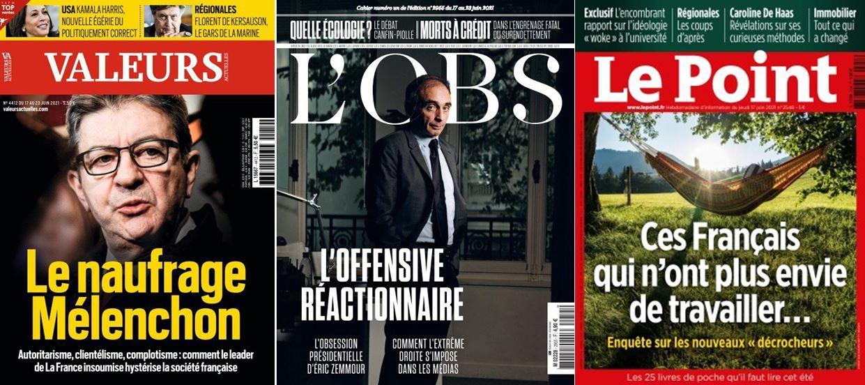 Jean-Luc Mélenchon est à la Une de Valeurs Actuelles, L'Obs a enquêté sur l'offensive réactionnaire avec la potentielle candidature d'Eric Zemmour, Le Point évoque le cas des Français qui ne veulent plus travailler.