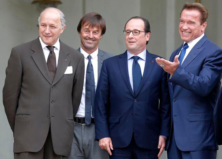 Nicolas Hulot en compagnie de François Hollande, Arnold Schwarzenegger et Laurent Fabius.