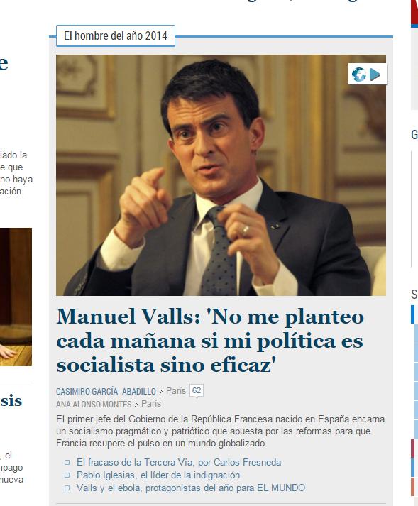 Manuel Valls à l'honneur dans El Mundo