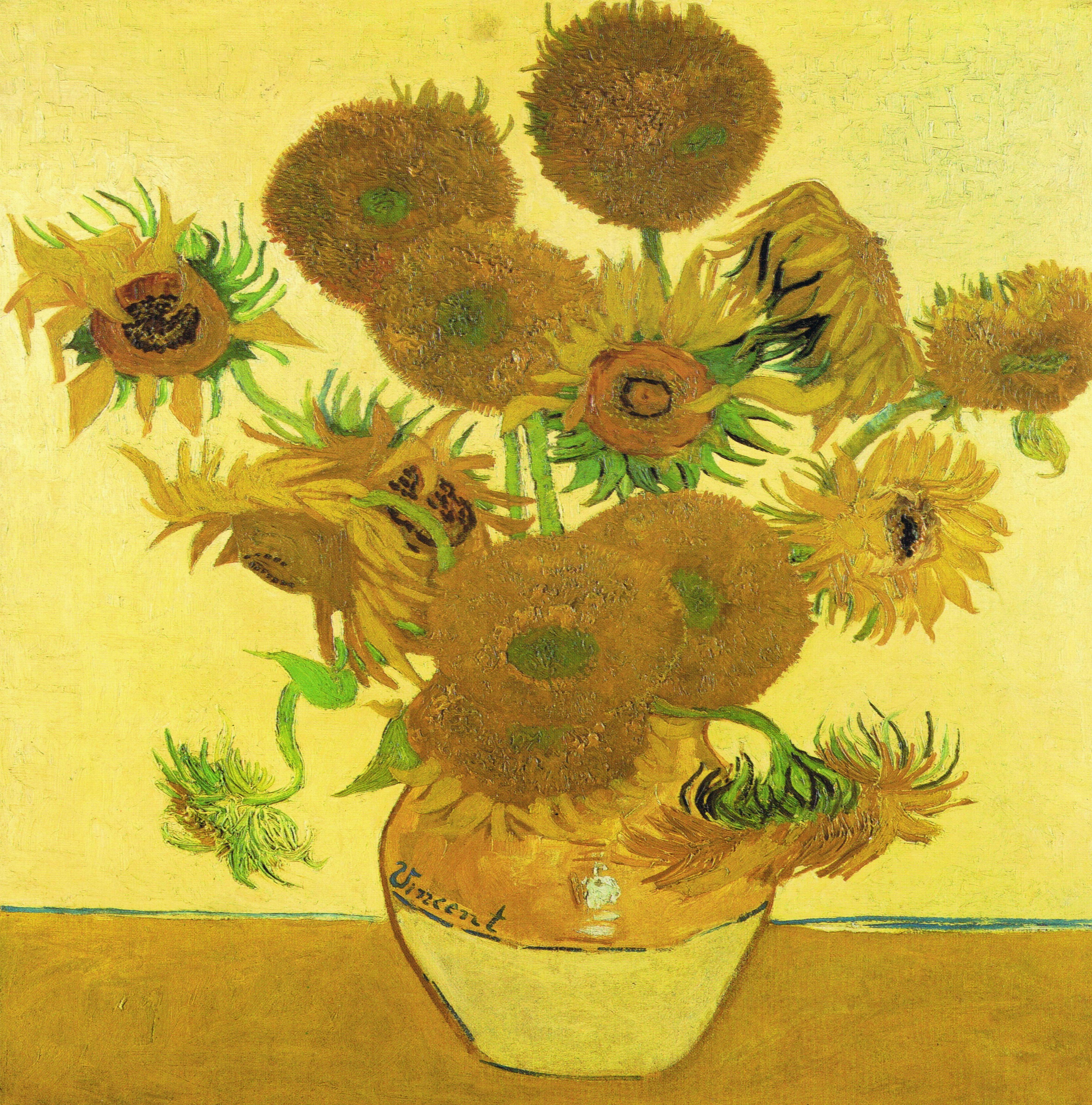 Les Tournesols est l'une des toiles avec le plus de jaune