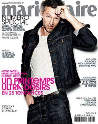 Vincent Cassel en couverture de Marie-Claire jeudi 6 mars 2014