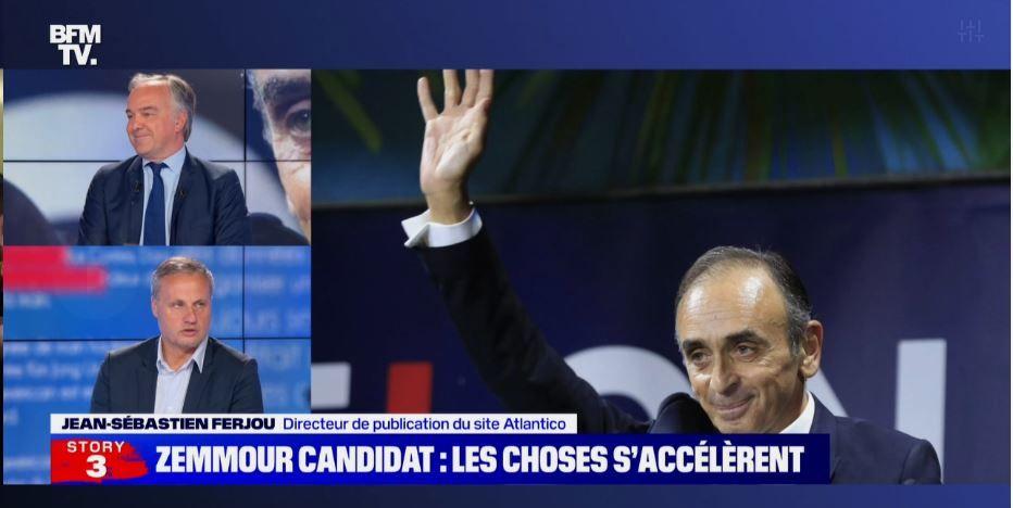 Un débat était organisé ce jeudi sur BFMTV sur la potentielle candidature d'Eric Zemmour pour l'élection présidentielle en 2022. Jean-Sébastien Ferjou, Olivier Truchot et Benjamin Duhamel ont notamment participé au débat..